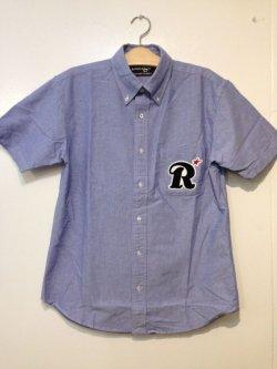 画像1: ☆SALE30%OFF [range] big R pile wappen B.D. shirts  -Blue- ※Mサイズのみ