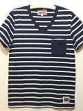 ☆SALE30%OFF [ANIMALIA] LOGO V Neck Border Poket-Navy-