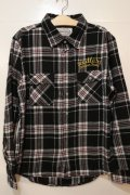 [seedleSs]sd check nel shirts -black- ※Lサイズのみ