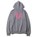 [Deviluse]Flame Heart Pullover Hooded -Silver-