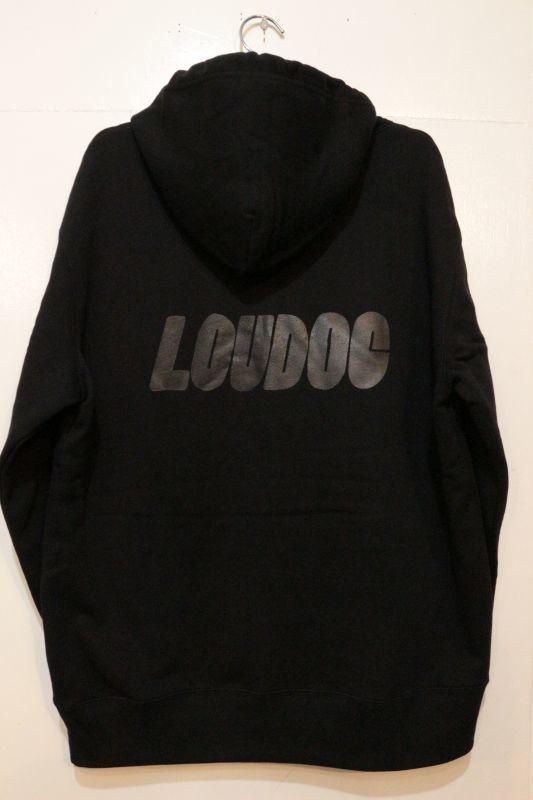 画像1: [LOU DOG] LOU DOG ロゴ プルパーカ -Black/Black-