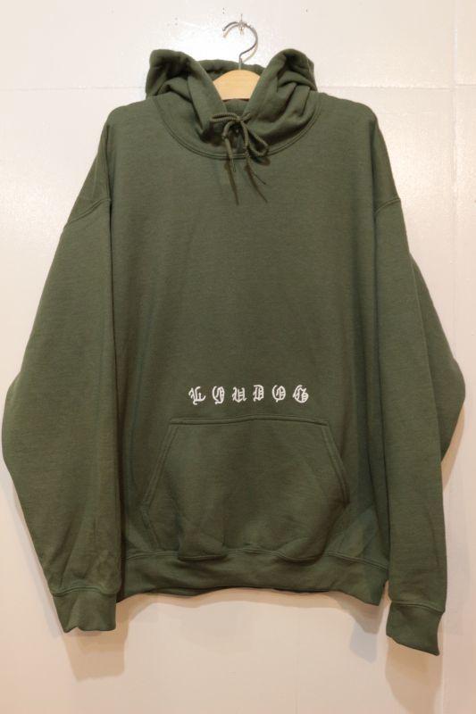 画像1: [LOU DOG] Old English Pullover Hooded -Military Green-
